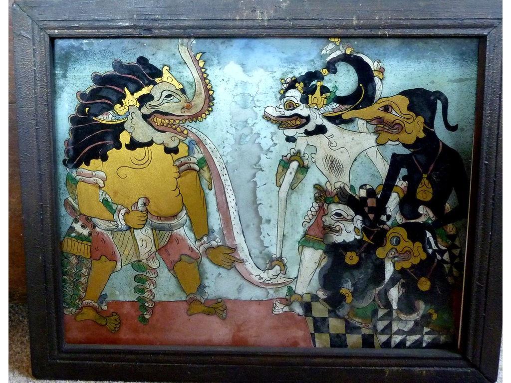 09-glasspainting-Ramayana-Hanoman-Petruk-Gareng-Semar-crocodile-demon.jpg